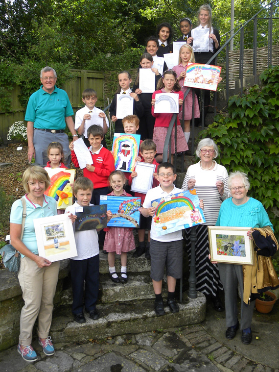 Wimborne in Bloom Art and Poetry Competition winners (who were able to attend the photocall)